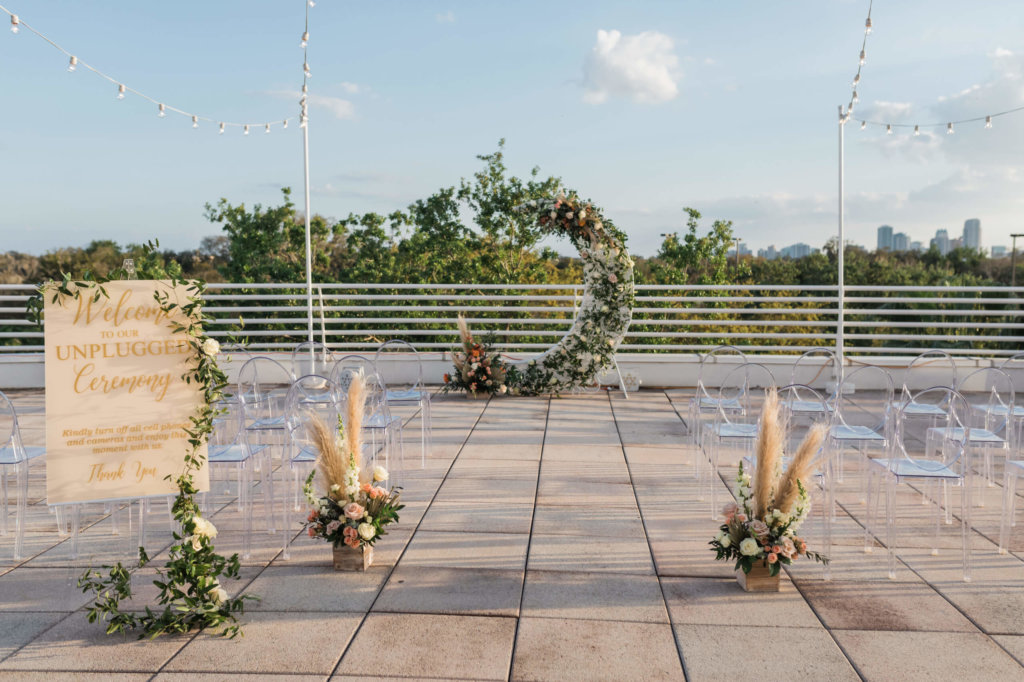 Orlando Science Center Terrace decorated for a wedding