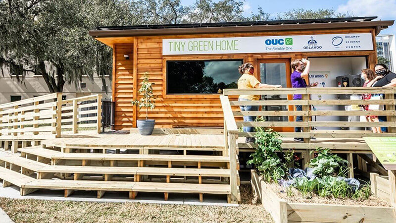 Image of guests outside Tiny Green Home