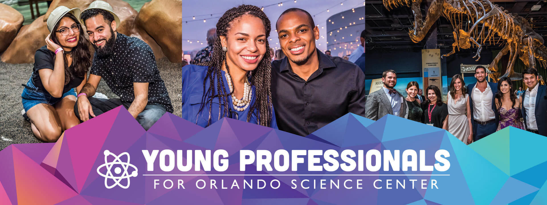 Collage of photos of young adults enjoying Orlando Science Center experiences through Young Professionals for OSC events.