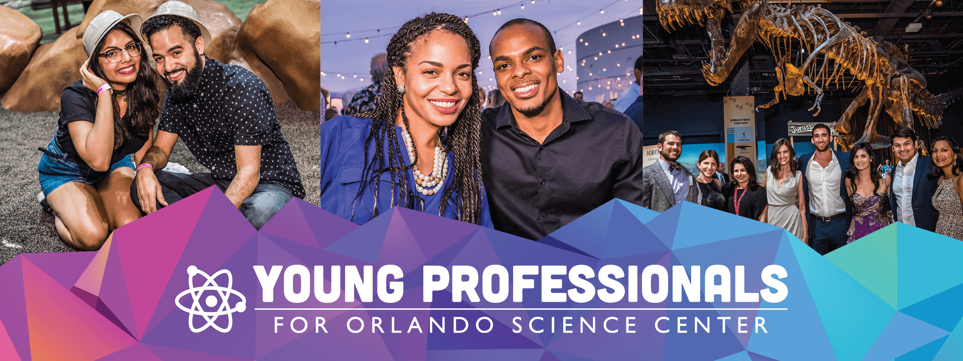 Collage of photos of young adults enjoying Orlando Science Center experiences through Young Professionals for OSC events