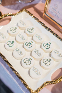 cookies decorated with wedding rings