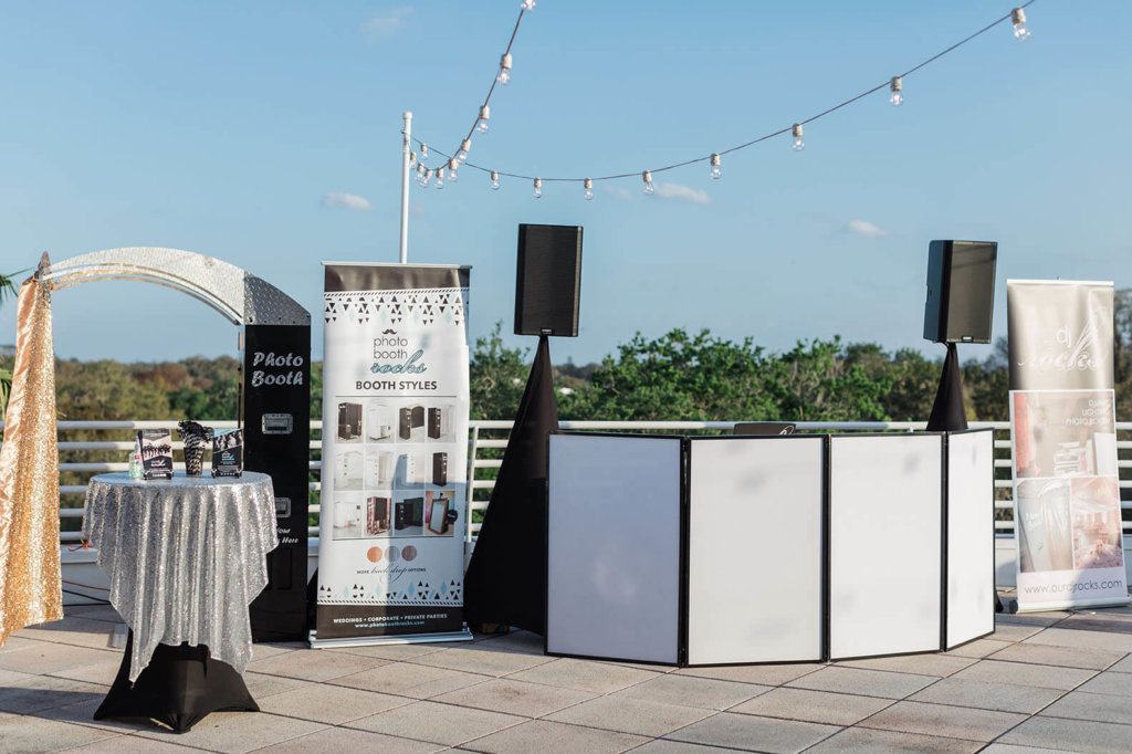 a DJ booth on the terrace