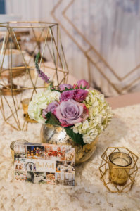 a close up of a decorated table with flowers and candles at Central Florida wedding showcase