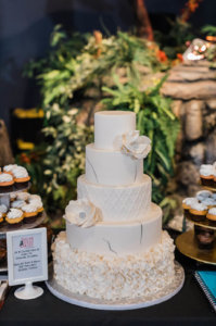 A white wedding cake