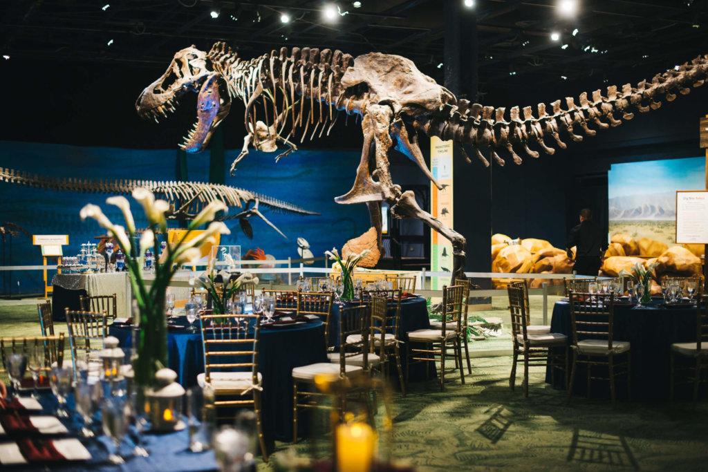 Dinner tables set up around a t-rex
