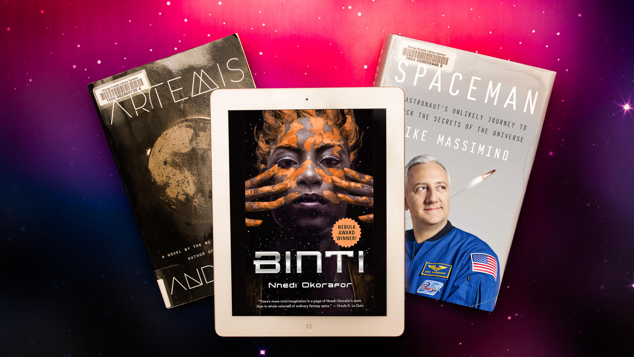 Three books - Artemis, Binti, and Spaceman