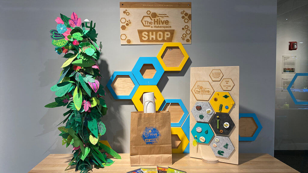 The Hive Shop featuring Hive at Home kits, custom buttons, keychains, and more!