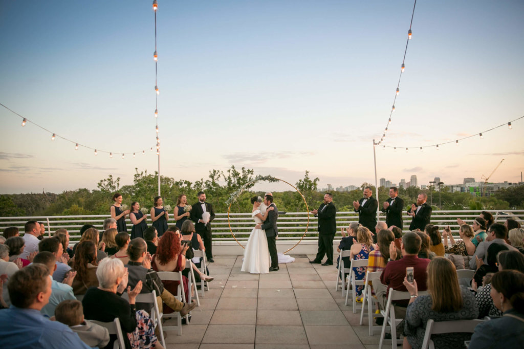 wedding at sunset on orlando science center terrace
