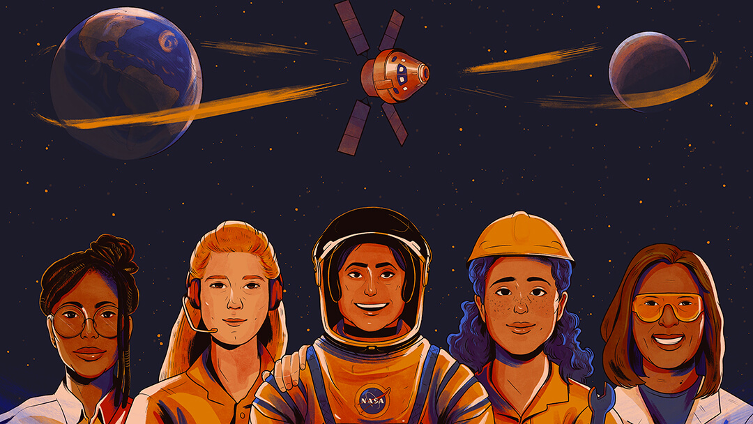 Illustration of five women representing scientific disciplines against a star field with the orbital path shown of Artemis mission from the Earth to the moon.