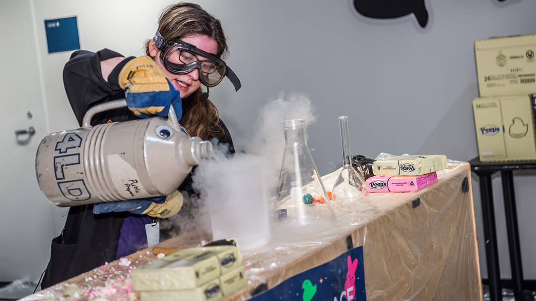 Cool Science live show with liquid nitrogen demonstration super cooling Peeps in a beaker.