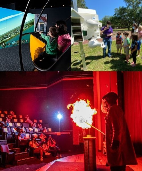 a collage of people doing science: An explosion on stage, kids building with blocks, a staff member giving a tour of a bird house, and two kids on jet ski simulators