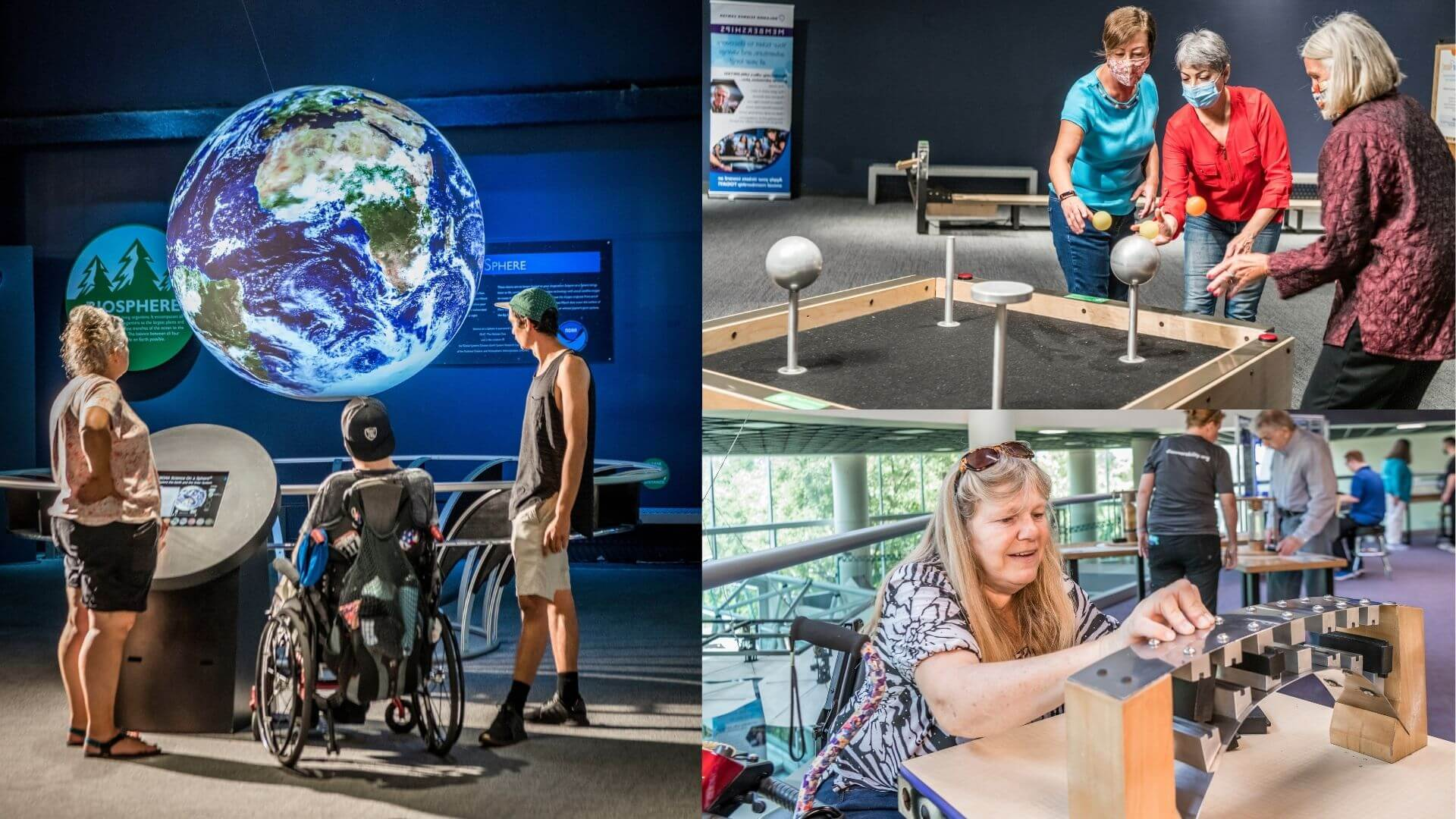 a collage of adults enjoying Orlando Science Center: