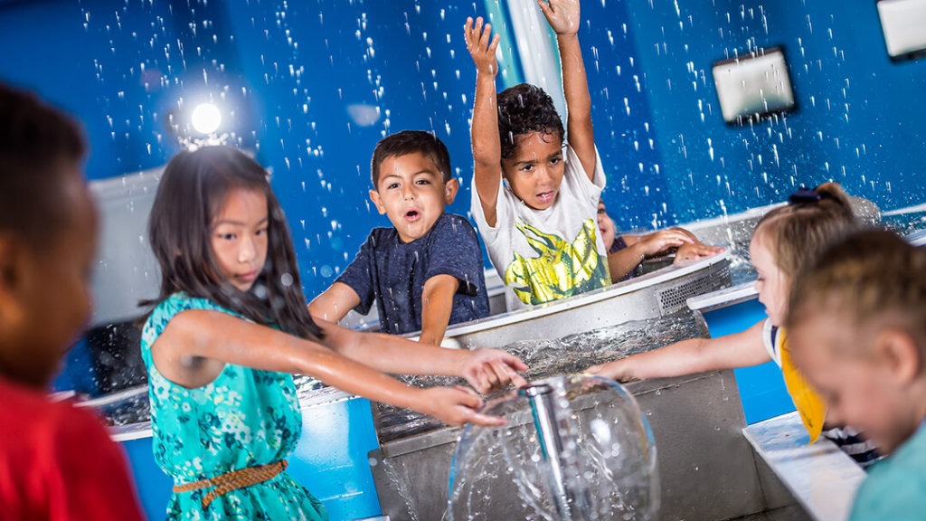 Group of children playing in interactive water play area in Orlando Science Center's children's exhibit