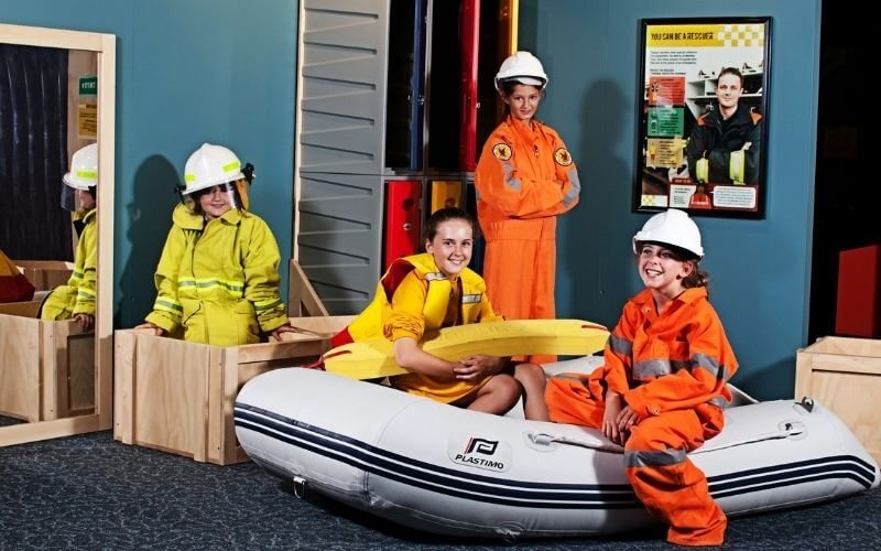 outdoor safety for kids - kids dressed up in first responder gear