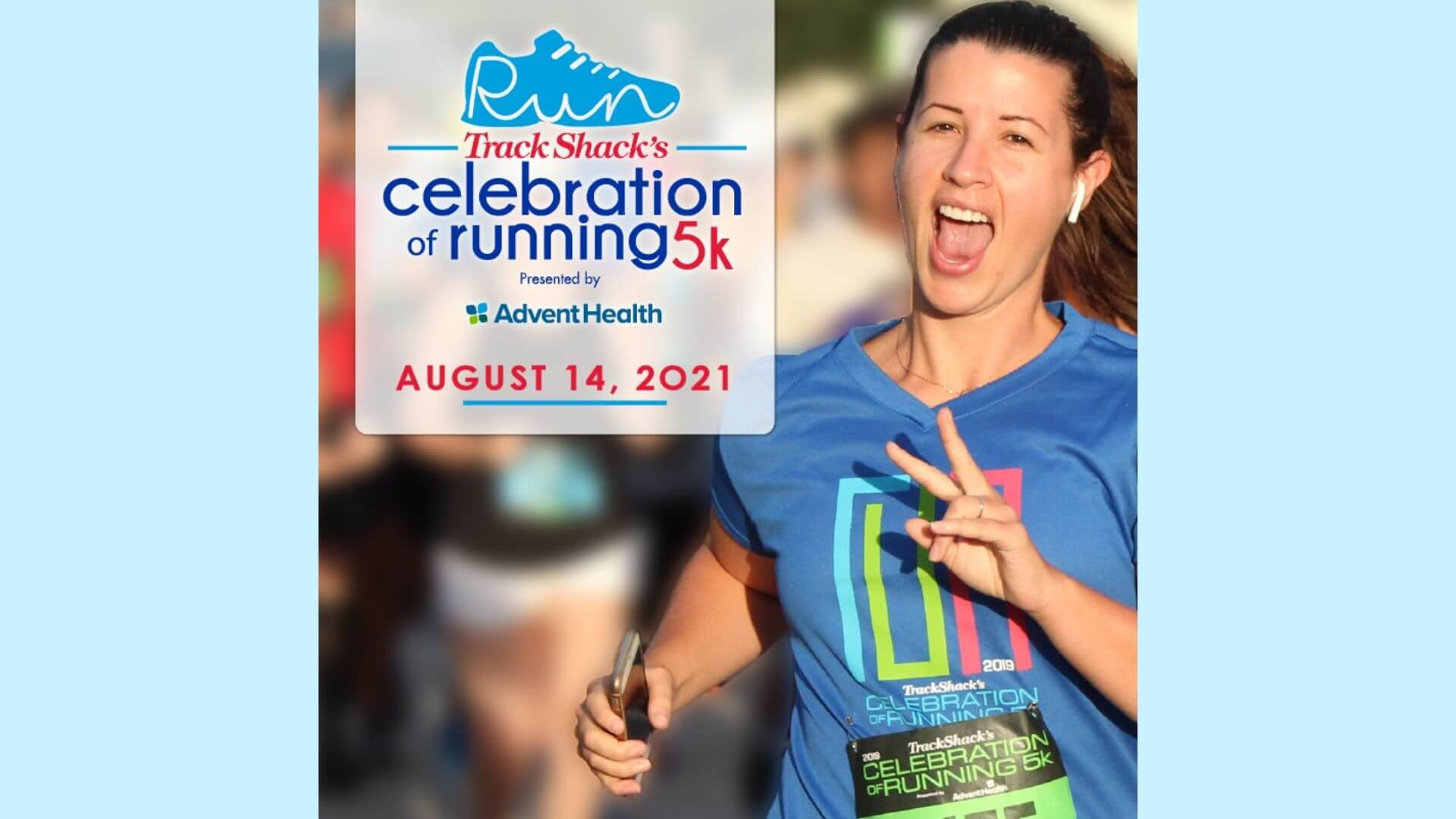Track Shack's Celebration of Running presented by adventhealth August 14, 2021 - a photo of a woman jogging and smiling
