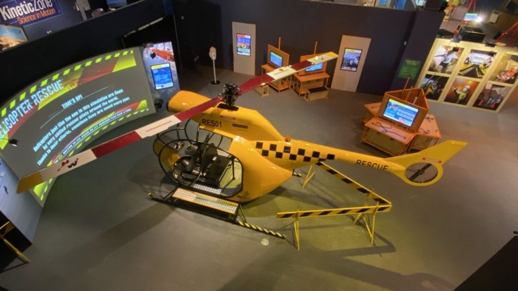 a life-sized helicopter simulator