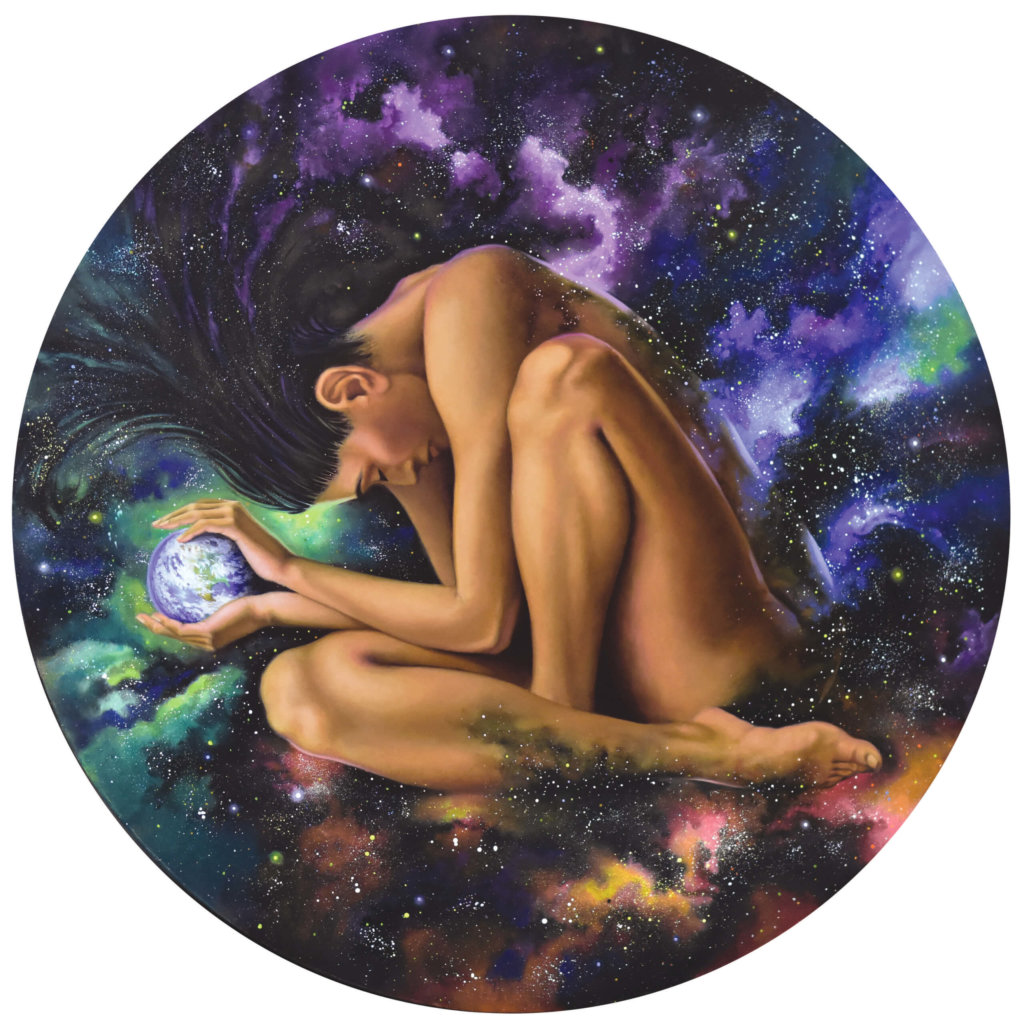 a painting of a woman holding the earth in her hands with a galaxy background