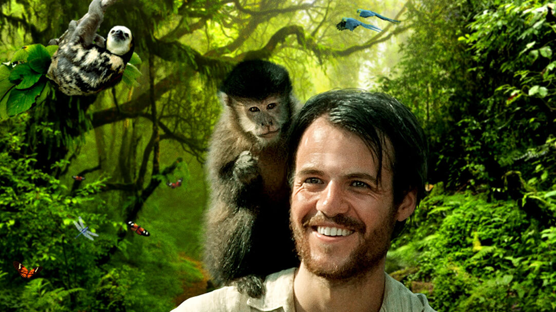 Smiling man, monkey, and sloth from Amazon Adventure Film