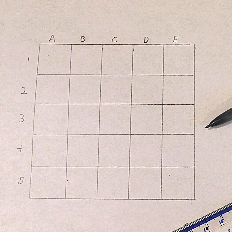 a 5 x 5 archaeology grid for activity