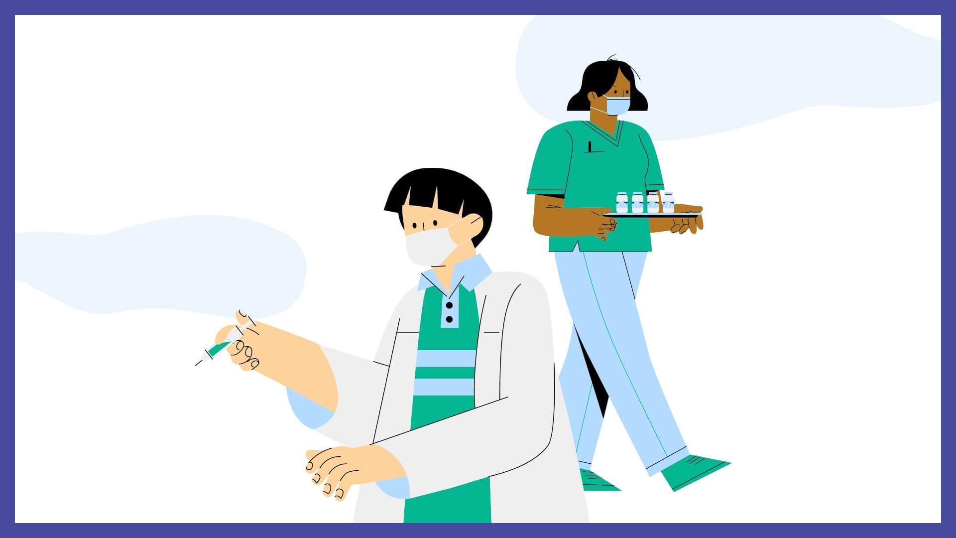 COVID-19 Vaccine Event - illustration of two health care professionals