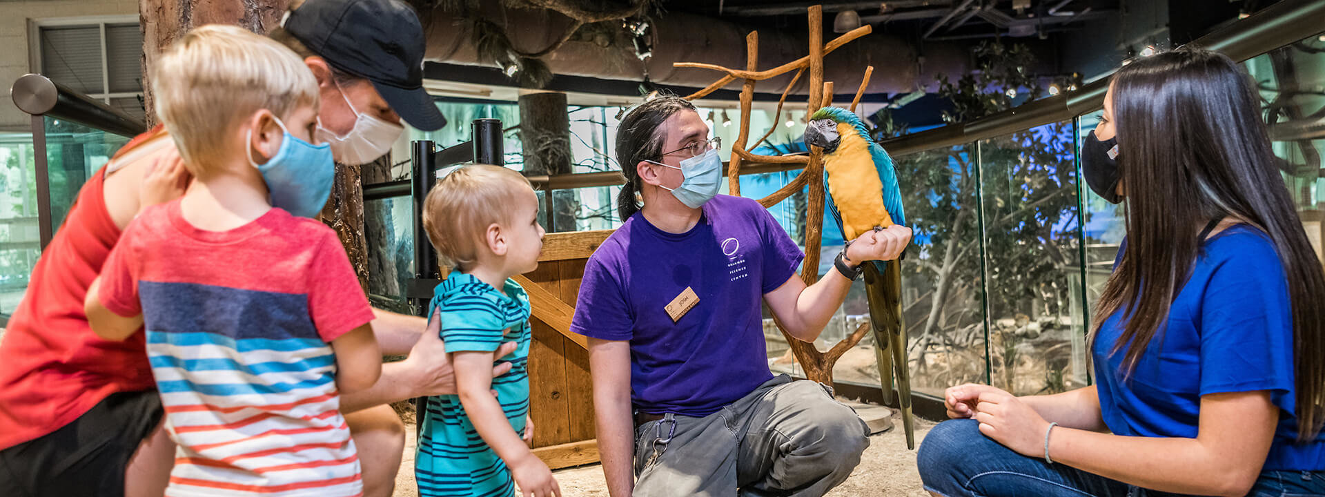 Small Private Experiences group interacting with animal keeper and Captain the parrot.
