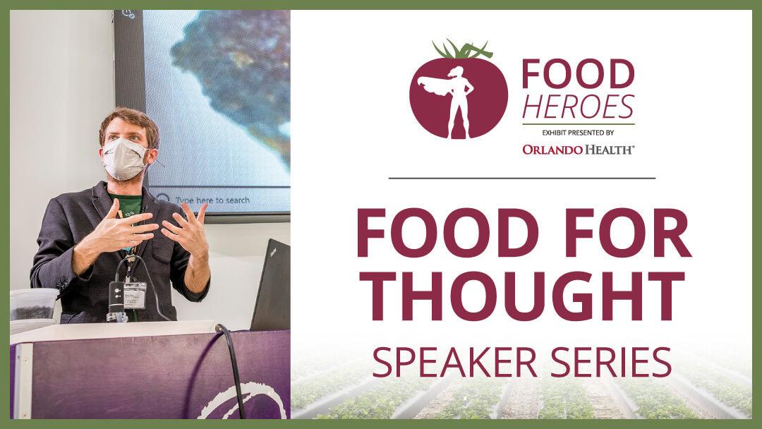 Food For Thought Speaker Series - image of presenter in Food Heroes exhibit