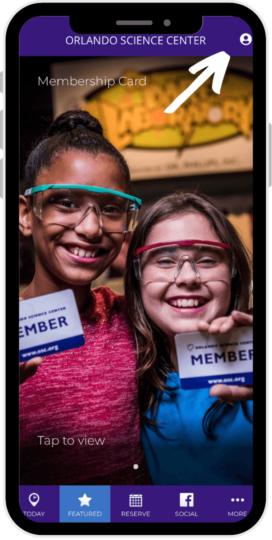 Orlando Science Center Member App home screen